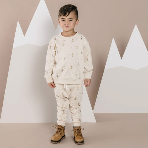 Rylee and cru cream ski print boys sweatpants