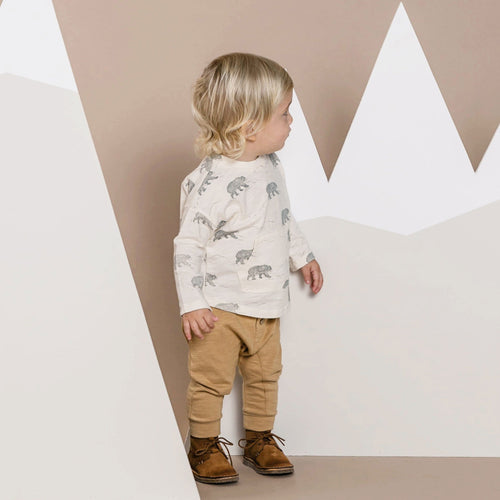 Rylee and cru ivory and grey bear print boys t-shirt