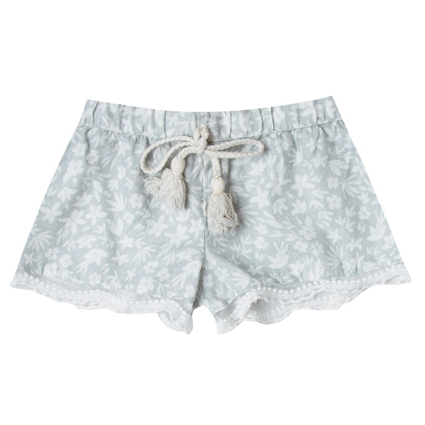 Girls scallop edge shorts in light blue ditsy print
