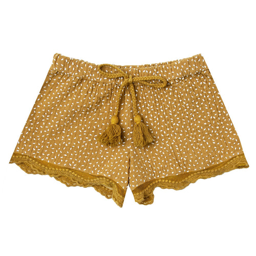 Girls yellow shorts with dots and lace trim