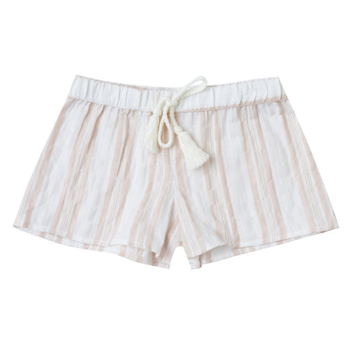 Girls tan and white stripe pull on shorts