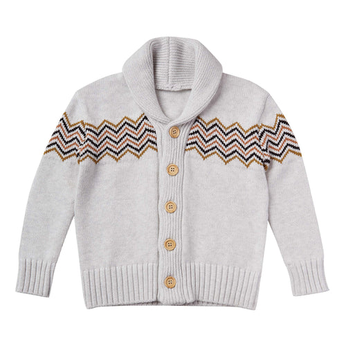 Rylee and Cru Soft Grey Knit Boys Cardigan