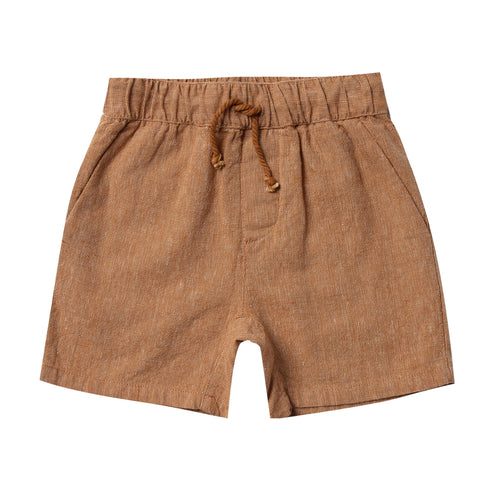 Rylee and cru caramel linen baby boy shorts with drawstring