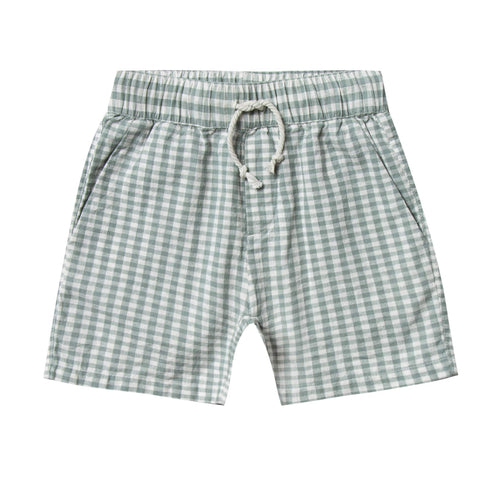 Rylee and cru blue gingham shorts for boys