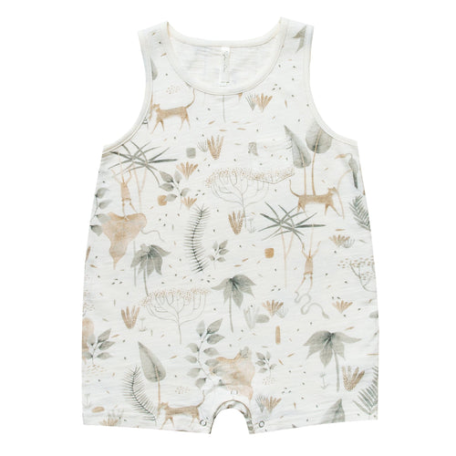 Cream sleeveless baby romper with jungle print