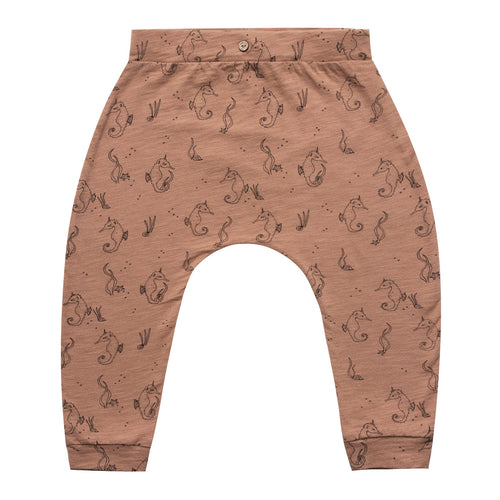 Baby pull on slouch pants with allover seahorse print
