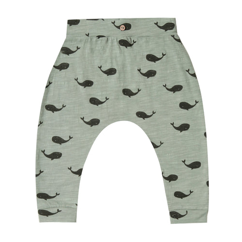 Rylee and cru green whale print baby pants