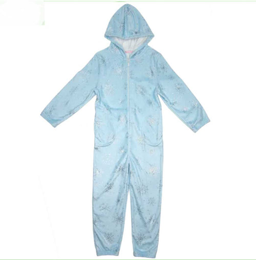 iScream Snowflakes Silver Foil Holiday Plush Onesie