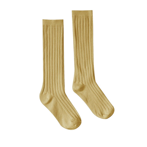 Rylee and cru yellow ribbed girls knee socks