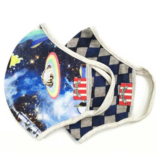 Paper Wings 2-in-1 Face Mask, Space and Racing Check, 8+ years