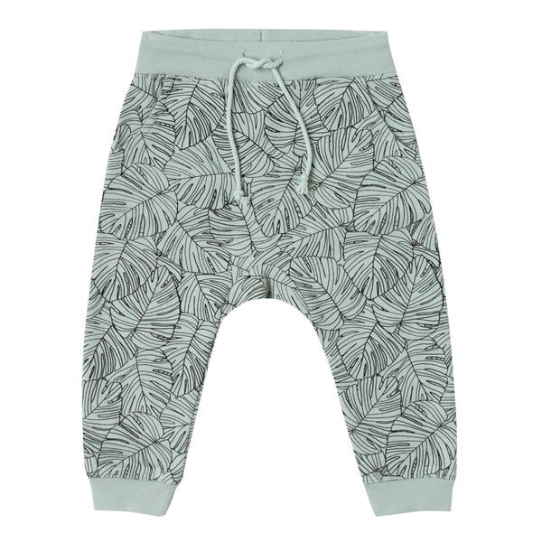 Kids light green drawstring sweatpants with leaf print