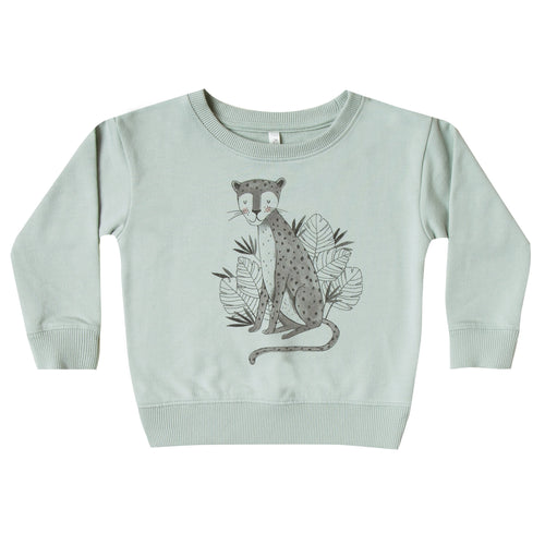 Kids long sleeve crewneck sweatshirt in mint green with jaguar artwork