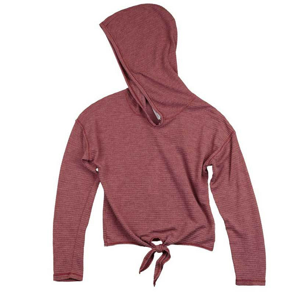 T2Love burgundy tween girls hooded top with tie