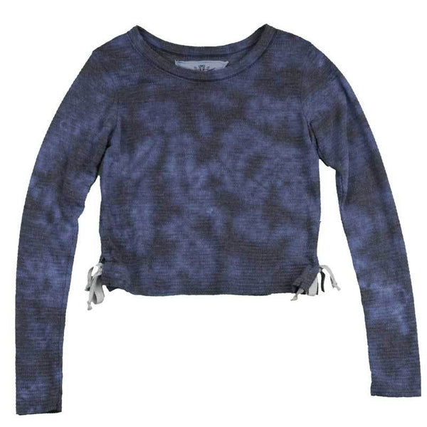 T2love blue tie dye long sleeve tween girl top