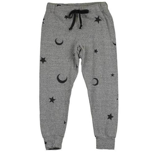 T2Love grey and black moon and star print tween girl jogger pants