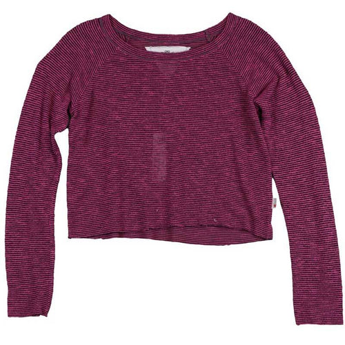 T2Love burgundy stripe tween girl cropped top