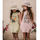 Mustard tank dress gor girls with desert graphic