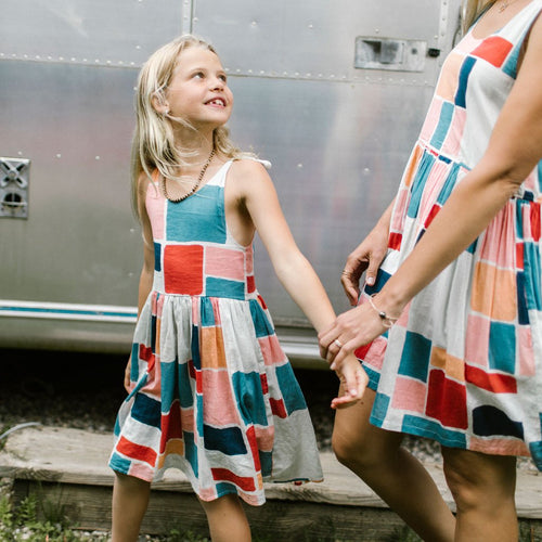 Girls geometric print sundress