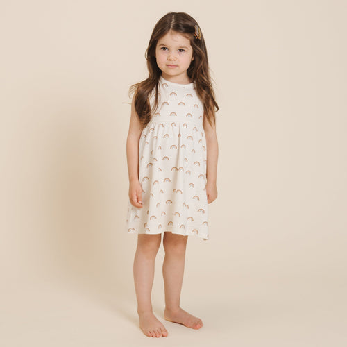 Rylee and cru white rainbow print sleeveless dress for girls