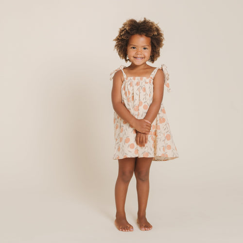 Rylee and cru peach print shoulder tie dress for girls
