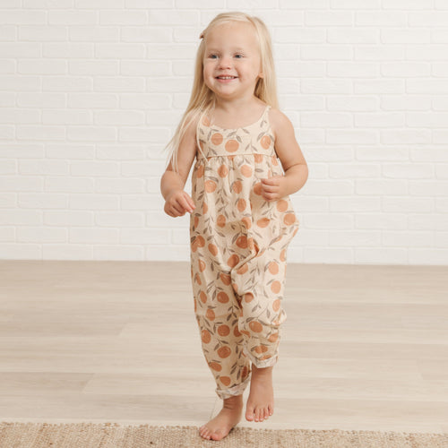 Rylee and cru peach print baby girl romper