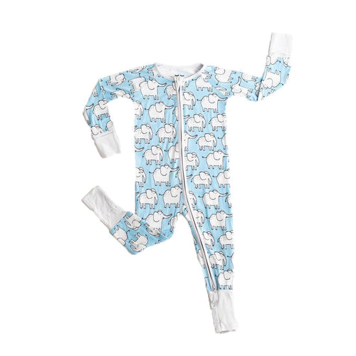 Little sleepies elephant print baby boy sleeper
