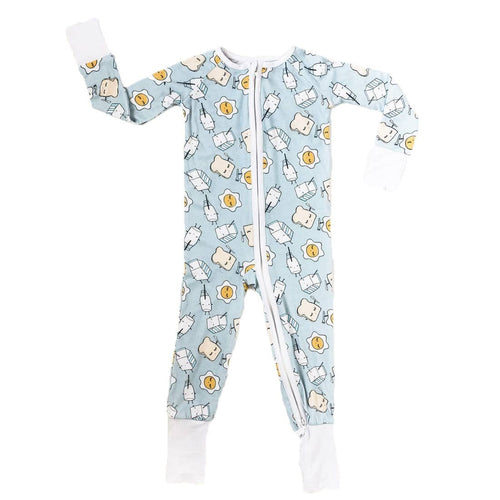 Little sleepies breakfast print baby boy sleeper