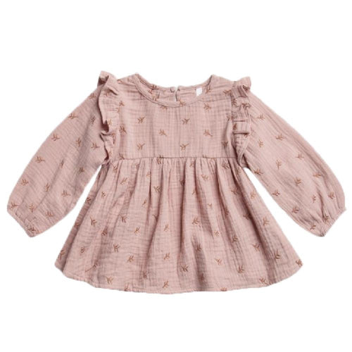 Rylee and cru pink embroidered baby girl blouse