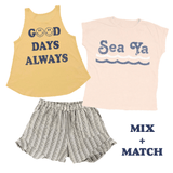 Tiny whales navy stripe girls ruffle shorts