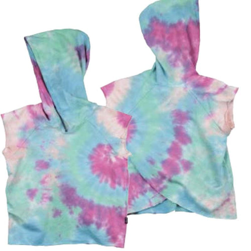 Sleeveless girls hoodie with tye die print