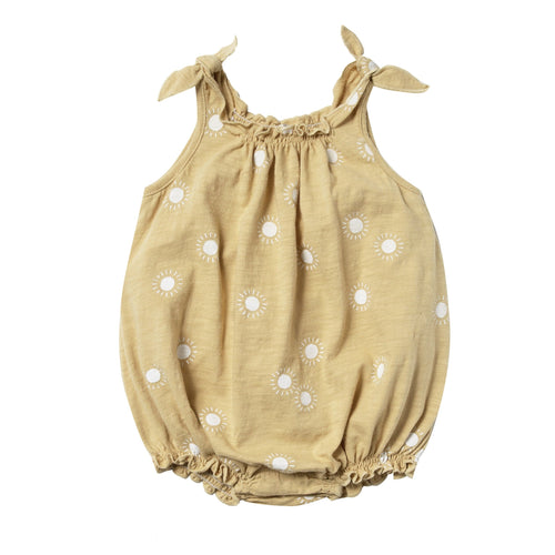 Rylee and cru yellow sunshine baby girl bubble romper