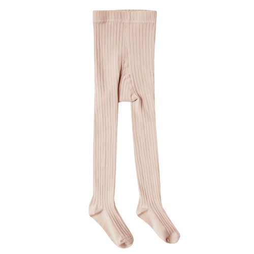 Girls light pink ribbed tights