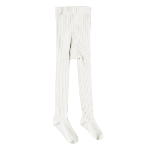 Girls cream ribbed tights
