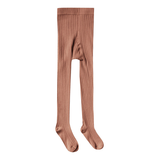 Girls mauve ribbed cotton tights