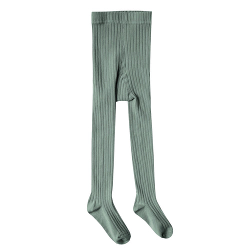 Girls dark green ribbed tights
