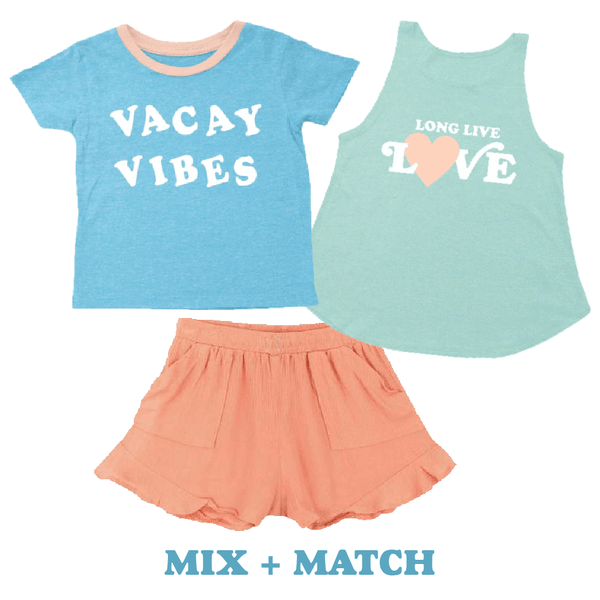 Tiny whales blue short sleeve vacay girls graphic tee