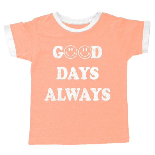 Tiny whales coral short sleeve LA girls graphic t-shirt