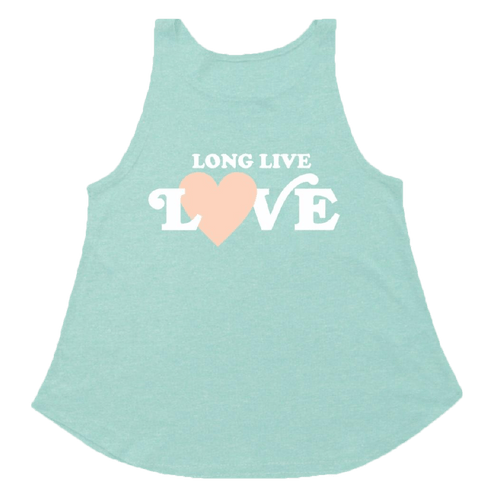 Tiny whales seafoam love girls tank top