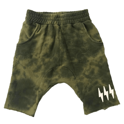Tiny whales army green tie dye knit boys shorts
