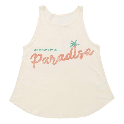 Tiny whales cream sleeveless paradise girls tank top