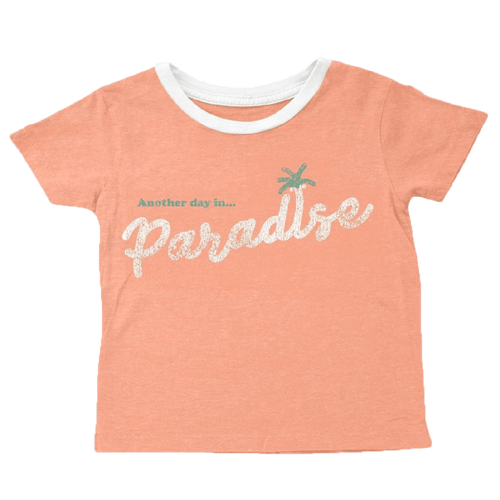 Tiny whales coral short sleeve paradise girls t-shirt