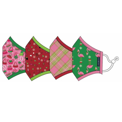 Holiday Face Mask Set 4 Pack - Argyle & Flamingo - Ages 8+