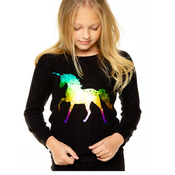 Chaser Iridescent Unicorn Love Knit Girls Pullover