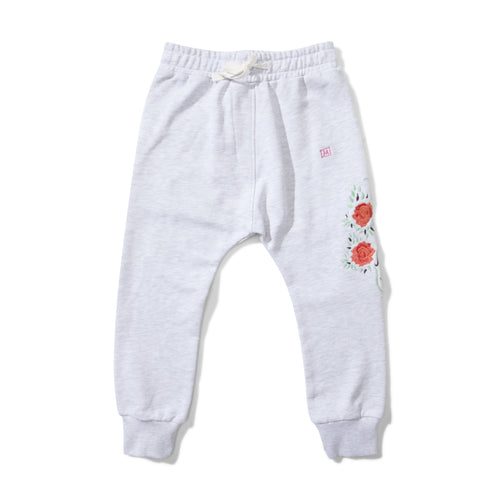 Girls white sweatpants with floral embroidery