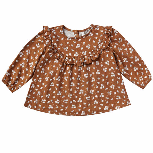 Rylee and cru brown floral baby girl blouse