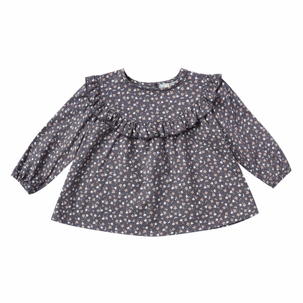 Rylee and Cru Washed Indigo Ditsy Victoria Baby Blouse