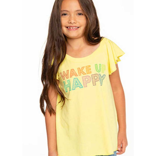 Chaser Wake Up Happy Vintage Jersey Girls Tee