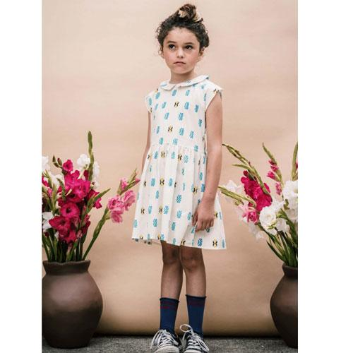 White aztec printed short sleeve dress for girls with peter pan collar