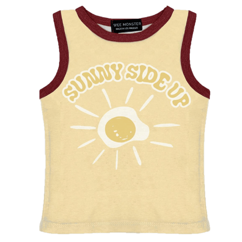 Wee monster yellow egg graphic kids tank top