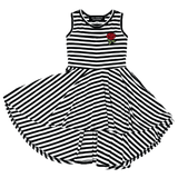 Wee monster black and white stripe twirl dress for girls